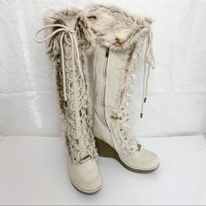 ALDO / Fur Wedge Knee High Boots - Size 37
